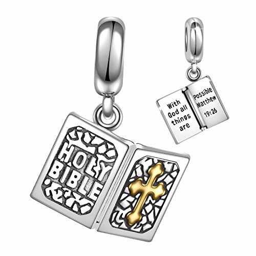 Angemiel 925 Sterling Silver Holy Bible Dangle Charms Bead for European Snake Chain Bracelets