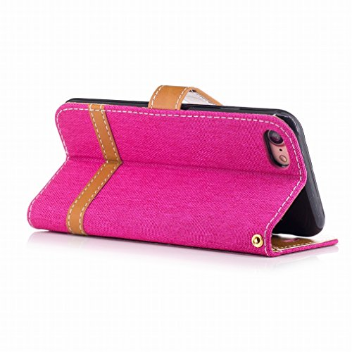LEMORRY Apple iPhone 7 Hülle Tasche Leder Flip Cover Case Schutzhülle Slim Bumper Schutz Magnetisch Soft Beutel Haut Weich Silikon Cover Schale Mit KRotitkarten-Slot, Denim-Stil Blau Rosa
