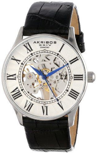 Akribos XXIV Men's AK410 'Saturnos' Skeleton Automatic Leather Strap Watch (Silver/Silver)