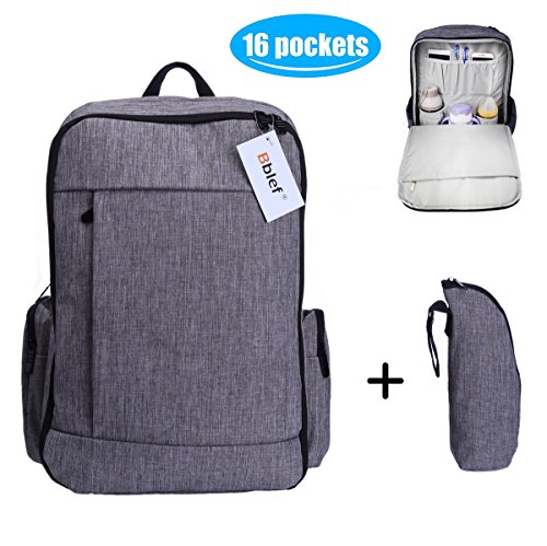 Large Baby Diaper Bag Backpack built-in Changing Pad and Stroller Straps, Anti-theft Waterproof Hard-wearing Travel Nappy Tote Messenger Bag with 2 Organizers for Mom Dad,16 Pockets,26 L,Gray
