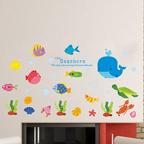 (BIBITIME Under Sea Wall Decal Whale Turtle Lobster Shell Starfish Colorful Fishes Bubbles Vinyl Stickers for Nursery Decor Kids Room Children Bedroom PVC Art Murals Decorations)