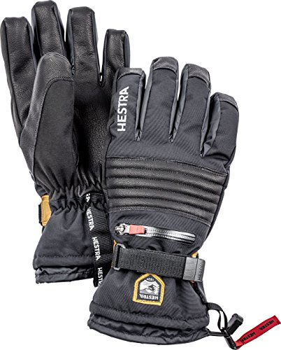 Hestra Mens and Womens Waterproof Ski Gloves: All Mountain C-Zone Cold Weather Winter Gloves, Black, 9