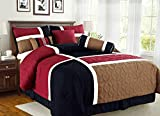 King Size Comforters on Sale Empire Home Over-Stock Special Patchwork 7 Piece comforter set Oversized - On Sale Till End of Month ONLY (King Size, Burgundy & Black)