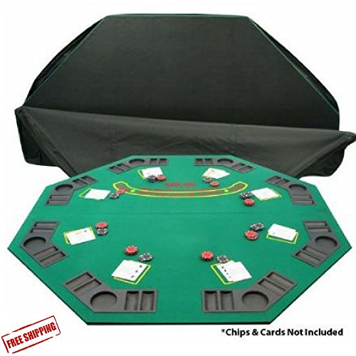 Folding Wooden Poker & Blackjack Table Top With Carrying Bag, Eight Player Positions, Drink Holders & Chip Trays & Free eBook Home Décor by afDesign (Image #1)