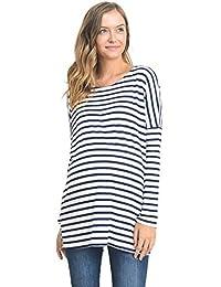 Hello Miz Women's Stripe Drop Shoulder Long Sleeve Maternity Tunic Top