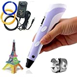 Marketworldcup - 3D Pen Kit - LED Screen, Starter Filamen for 3D Printing Pen -New 3D Printer Pen  Suitable for 1.75mm ABS or PLA Filament  LCD Screen shows your control of temperature, speed, filament  Button controls allows you to control extrusion...