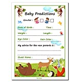 30 Baby Shower Prediction and Advice Cards, Boy or Girl - Baby Shower Games Decorations Activities Supplies Invitations - Safari Zoo Animals Jungle