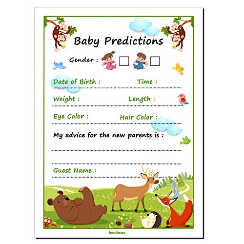 30 Baby Shower Prediction and Advice Cards, Boy or Girl - Baby Shower Games Decorations Activities Supplies Invitations - Safari Zoo Animals Jungle by Smart Designs