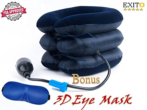 No1 Cervical Neck Traction Device Inflatable Pillow,FDA Registered, EXITO Reduce Neck Pain from Pinched Compressed Disc, Extra Bonus Eye Mask, Cervical tracción by EXITO