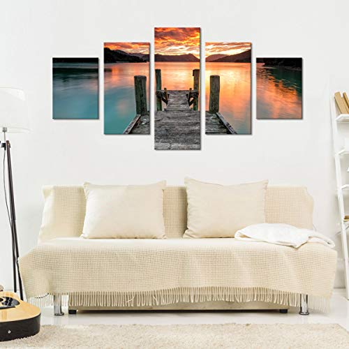 Sunset Lake View Canvas Wall Art - Ready to Hang - Summer Dock Picture for Adults & Kids - Large Print for Home Office, Living Room, Bedroom, Kitchen, Bathroom - Made in USA - 5 Panel 64