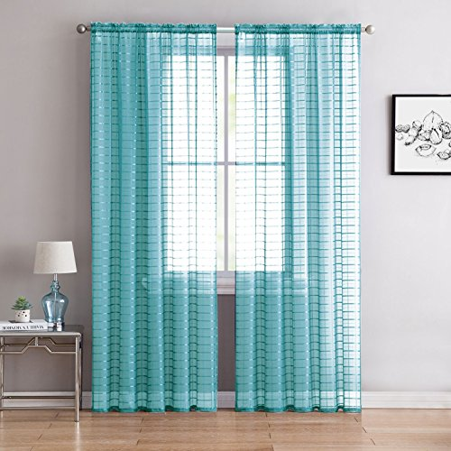 GoodGram 2 Pack: Ultra Elegant Plaid Sheer Voile Window Curt