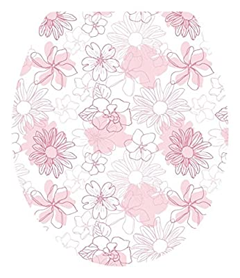 """DNVEN (13""""w X 15""""h) Pink Bloosm Floral Flowers Bathroom Toilet Seat Lid Cover Decals Stickers"""
