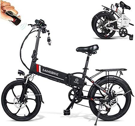 Bicicletas Eléctricas Plegable de Montaña/Carretera Ruedas de 20 Pulgadas + Control Remoto Motor 350W Batería 48V 10.4AH Shimano 7 Velocidades Soporte y Carga para Móviles Smartphone [EU Stock]