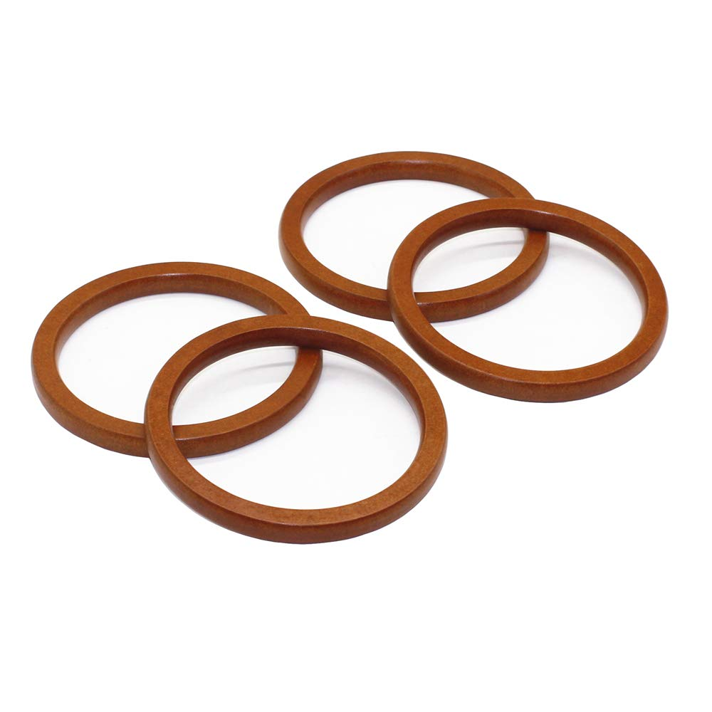 Brown Model Worker 4PCS Wooden Round Shaped Handles Replacement for Handmade Bag Handbags Purse Handles
