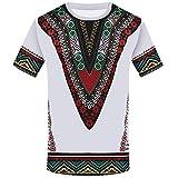 iZHH Men's T Shirt Fashion African Printed T Shirt Short Sleeve Casual Shirt Top Blouse White