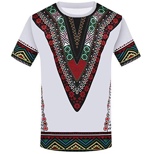 iZHH Men's T Shirt Fashion African Printed T Shirt Short Sleeve Casual Shirt Top Blouse White by iZHH (Image #3)