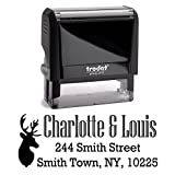 Black Ink, Stag Head, Deer Picture Custom Personalized Self Inking Return Mail Address Stamp – Brilliant Gift for Family, Newlyweds, Bridal Shower, Teacher or Clients