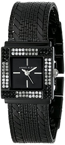 Anne Klein Women's AK/1863BKBK Swarovski Crystal Accented Black Multi-Chain Bracelet Watch