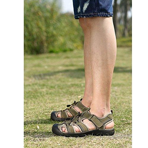 para Hombres abs para Ajustables Qingqing Sandalia Sandalias Sudor de Cuero Playa de para Pescador Hombre Sandalias de Cuero Green Sandalias Antideslizante de Verano Respirable Cerrados wPR6qPC
