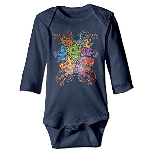 Floral Sugar Skulls Day of Dead Halloween Baby Bodysuits Long Sleeve for Unisex Boys Girls 100% Cotton 12 Months