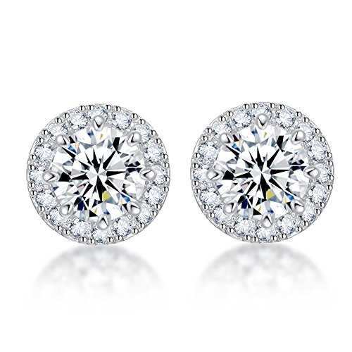 SENCLE S925 Sterling Silver with Platinum Plated Halo Cushion Shape Cubic Zirconia Round Stud Earrings Pierced (Round Pierced Earrings)