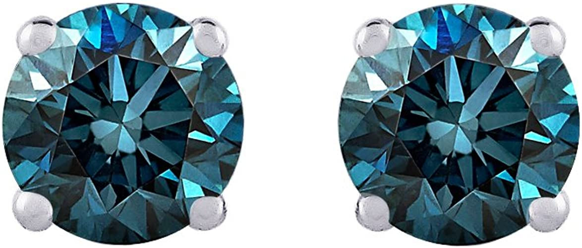 2.00 Ct Round Cut Topaz 4 Prong Solitaire Stud Earrings 14K White Gold Over
