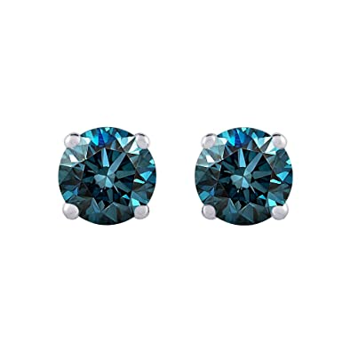 4d1fc2327 Amazon.com: 1/4 ct. Blue - I1 Round Brilliant Cut Diamond Earring Studs in 14K  White Gold: Jewelry