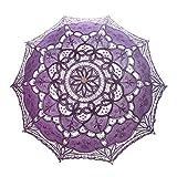 TopTie Wedding Lace Parasol Umbrella Vintage Bridal Costume Accessory Photo Prop For Wholesale-Purple-60 PCS