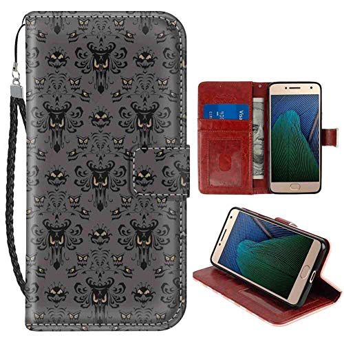 (Wallet Case Compatible Moto G5 Plus (2017) (5.5 Inch) Disney Halloween Haunted Mansion)