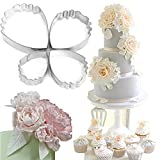 Honmofun Peony Flower Cutter Petal Fondant Sugarcraft Cake Cookie Cupcake Maker for Kids Cutter Babycakes Cupcake Maker for Girls Cupcakes Maker Biscuit Cutter Set 4 PCS
