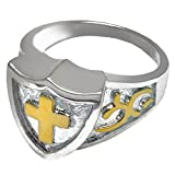 Memorial Gallery 2005S-6 Cross Shield Ring Sterling Silver Two Tone Cremation Pet Jewelry, Size 6