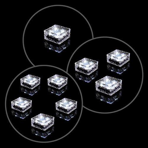 Solar Glasstein 4 LED warmweiß 10x10x5 cm Dekoleuchte Milchglas Bodenleuchte