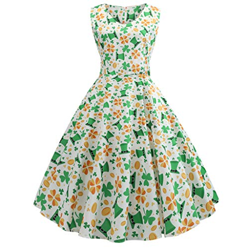 Euone Dress Clearance Sales, St. Patrick's Day Women's Shamrock Evening Print Party Prom Swing -