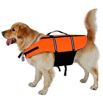 Chaleco salvavidas para perro, correas ajustables con zona reflectante, chaleco salvavidas para perro con asa de rescate: Amazon.es: Productos para mascotas