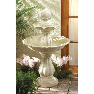 Acorn Three Gracefully Crafted Tiers Outdoor Yard Garden Decor Water Pump Cascading Fountain