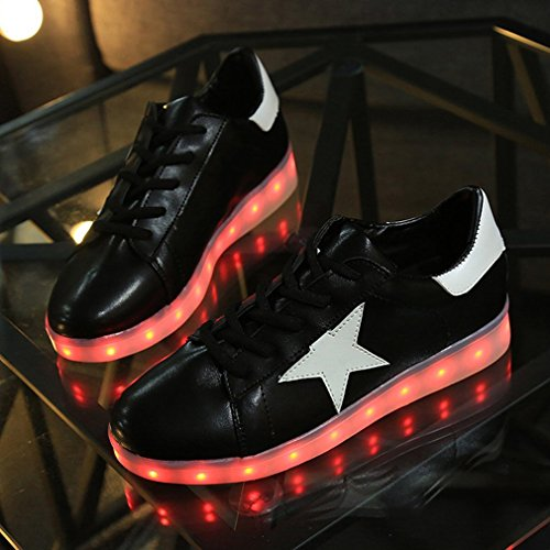 Annabelz Led Zapatos Usb Charging Hombres Mujeres Light Up Zapatos Lace Up Flat Sneakers Negro