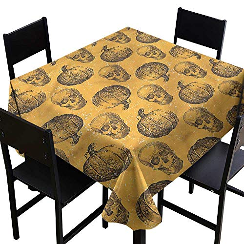 Pumpkin Tablecloth for Kids/Childrens Halloween Theme Scary Skull Party Decorations Table Cover Cloth 50 x 50 Inch]()