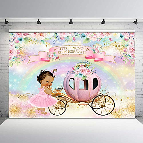 Mocsicka Princess Baby Shower Backdrop Pink Pumpkin Carriage Floral Baby Shower Photography Background 7x5ft Rainbow Pastel Gold Star Vinyl Backdrops Girl Baby Shower Decorations Supplies