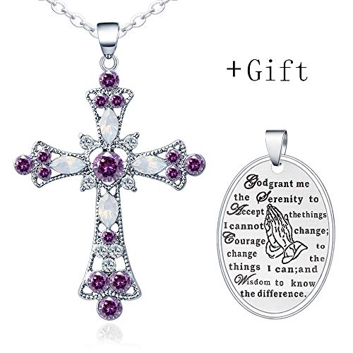 YEDUO Silver Cross Faith Pendant Necklace Crystal Heart Christian Religous Jewelry for Women Girls Stainless Steel Chain 18