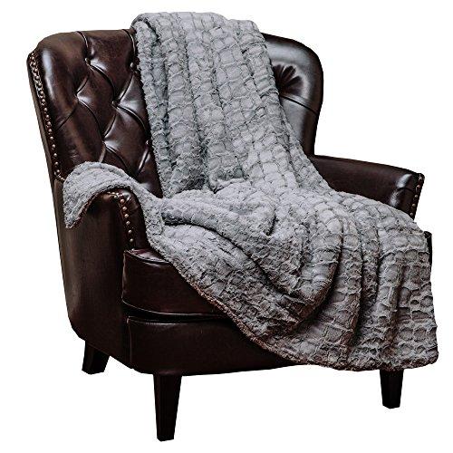 Chanasya Super Soft Warm Elegant Cozy Fuzzy Fur Fluffy Faux Fur with Sherpa Stone Embossed Pattern Gray Throw Blanket - Solid Stone Pattern Silver Gray