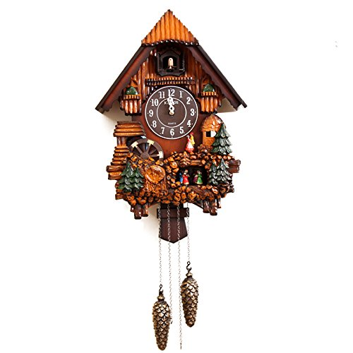 GAW Continental Pastoral Quiet Light Chiming Wall Clock Cuckoo Cuckoo Clock Bird Creative Clock Table Living