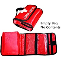 Portable Bag First Aid Kit Empty Outdoor Travel Rescue Bag Empty Pouch Tote Small First Responder Storage Compact Survival Container for Home Office Sport Car (Red Foldable.)