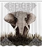 Elephant Shower Curtain Animal Decor Bohemian Boho by Ambesonne, Henna Indian Tattoo Designs Theme Nepal Uncommon Lace Pattern Fabric Bathroom Decorations Deluxe Set, 69x70 Inches Taupe White Gray