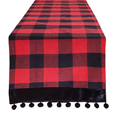 Fennco Styles Buffalo Plaid Red and Black Velvet
