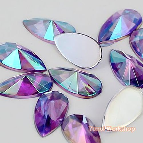 Face Teardrop - (Purple AB, 8mm x 13mm, 50pcs) Teardrop Shape Pointed Face Acrylic Flat Back Rhinestones Cabochons Deco Scrapbooking Nail Craft - Iridescent