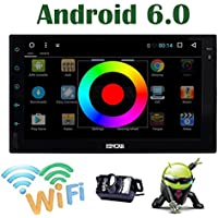 EinCar Android 6.0 Quad Core 7 Inch HD Touch Screen Car Stereo Double 2 Din Radio GPS Navigation System Support WiFi/USB/SD/SW-Control/Bluetooth with External Microphone / Backup Camera included