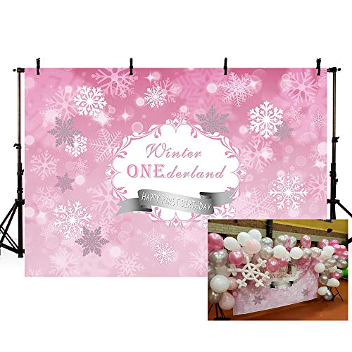 MEHOFOTO Photography Backdrops Princess Baby First Birthday Pink Winter Wonderland Snowflake Party Decoration Photo Studio Booth Background Banner 7X5ft