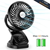 Oasislive Clip on Stroller Fan, Battery Operated Fan for Camping, Travelling, Mini USB Portable Fan for Baby Stroller with Rechargeable 4400mA Battery 360° Rotation