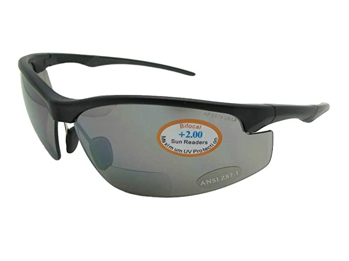 6c82cb70675b Amazon.com  Wrap Around Sports Bifocal Sunglasses B55 Sunglass Rage (Flat  Black-Non Polarized Gray Lens