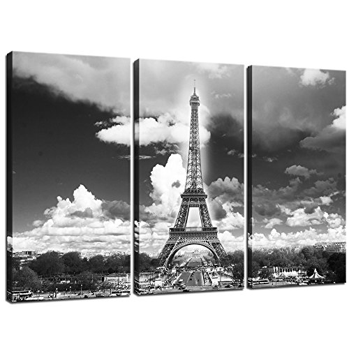 Sea Charm - Modern Canvas Wall Art - Black and White Paris Eiffel Tower Canvas Picture Framed Art Wall Decorations for Living Room - Cityscape Wall Art,Each Piece 12